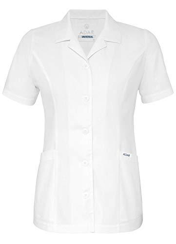 Adar Universal Scrubs for Women - Lapel Collar Buttoned Scrub Top - 2629 - White - M