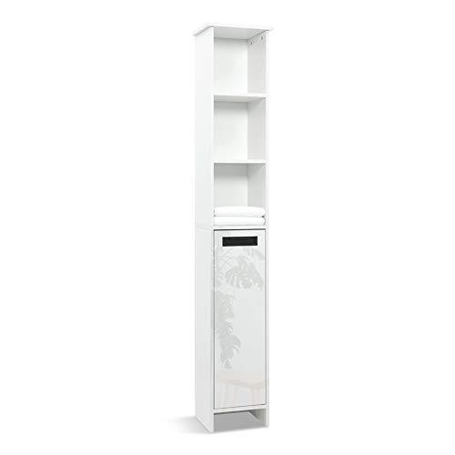 Mondeer Hochschrank, Badezimmerschrank Modern, Holz, 1 glänzende Tür, 5 Regale, 172H x 30W x 24D cm, Weiß