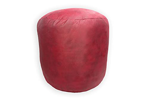 Taburete Redondo, Puff Bajo Acolchado, Resistente y Cómodo. Silla Reposapiés Elástica. Asiento Decorativo para Interior y Exterior. (Rojo, Tapicería)