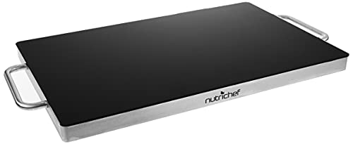 NutriChef Stainless Warming Hot Plate - Keep Food Warm w/ Portable Electric Food Tray Dish Warmer w/ Black Glass Top, For Restaurant, Parties, Buffet Serving, Table or Countertop Use - AZPKWTR45