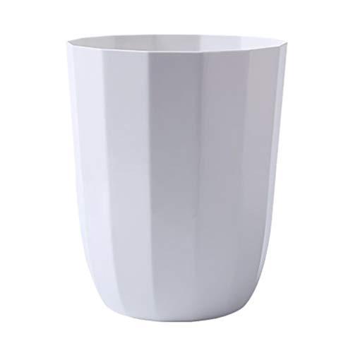 Yyqx Cubo de Basura para Exterior Bote de Basura en casa Sala de Estar casera Cocina Baño Sin Tapa Bote de Basura Botes de Basura de Cocina (Color : White)