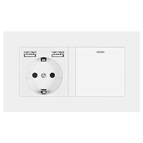 Zócalo con interruptor de balancín, toma de corriente de pared de 220V 16A con panel de PC blanca USB 146mm * 86mm con interruptor de luz 1gang 3way-blanco_110-250v