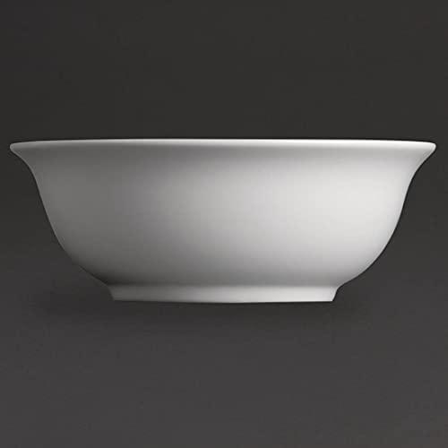 Olympia Whiteware Saladiers en Porcelaine Blanche 235mm - Vaisselle Plat de Service avec Bords Roulés - Va au Lave Vaisselle - Paquet de 6