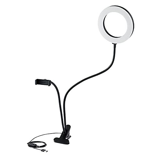 エレコム LED リングライト クリップライト 16㎝ 3色モード / 10段階調光 USB給電 ブラック DE-L01BK