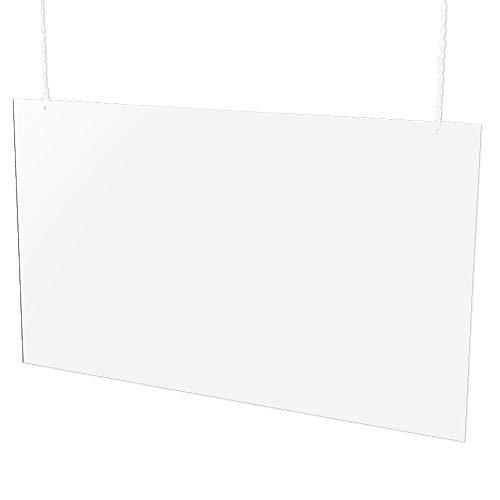 EH Design Hustenschutz aus PS zum Aufhängen – 60 x 100 cm, 5 mm stark, 80% transparente Virenschutz Schutzscheibe, ideal als Kassenschutz & Thekenbereich Schutzwand