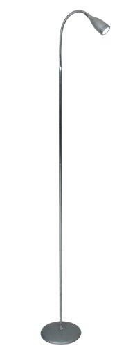 Naeve Leuchten 239259 - Lampada da terra a LED, regolabile in altezza da 135 a 155 cm, ø 18 cm, superficie cromata, colore: Argento