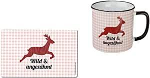 Juego de desayuno de melamina y cerámica, diseño de cuadros rojos