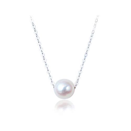 Lotus Fun S925 Sterling Silber Halskette Einfacher Einzelne Perle Halskette Kettenlänge 36.5cm+5cm, mit verlängerter Kette Natürlicher Kreativ Beliebt Schmuck für Frauen