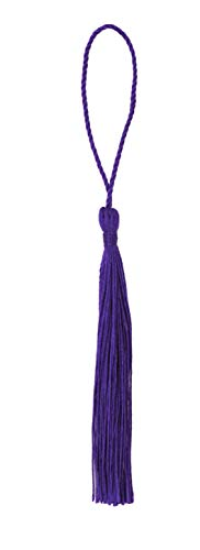 Mandala Crafts Decorative Tassel with Loop for Jewelry Making, Bookmarks, Books, Gifts, Key Chains, Malas, Pillows; Pack of 100 (Purple, 3 Inches)