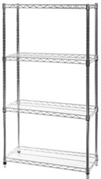 14 D X 30 W X 96 H Chrome Wire Shelving With 4 Shelves