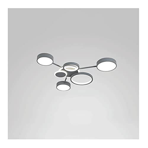Luz incrustada LED, lámpara de Techo Gris de 70-127W, luz Blanca, luz cálida, luz de Tres Tonos, Sala de Estar Adecuada, Dormitorio (Color : Light Gray, tamaño : 70W)