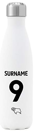 Personalised Derby County Back Of Shirt Insulated Water Bottle - White