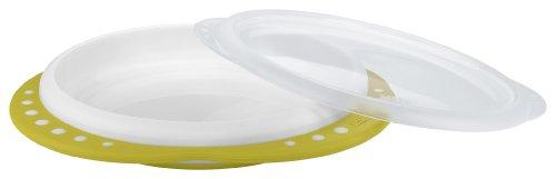NUK Easy Learning Esslern-Teller mit Deckel, Anti-Rutsch-Griffe, rutschfester Boden, BPA-frei, pistazie