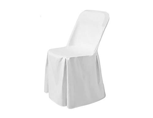 HENDI Stuhlhusse, Stoff: President 170 g/m², 100% Polyester, Kein Bügeln nötig, Passend für Klappstühle, für HENDI Klappstühle 810965 & 810989, 540x440x(H)840mm, Weiß