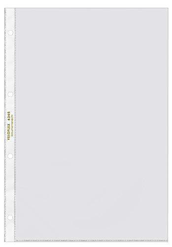 Veloflex 4345300 Prospekthüllen A4, Klarsichthüllen, Klarsichtfolien, PP-Folie, 4-fach Lochung, 10 Stück