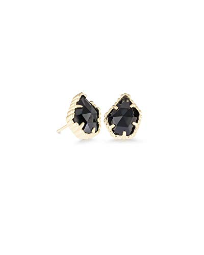 Kendra Scott Tessa Stud Earrings for Women, Fashion Jewelry, 14k Gold-Plated, Black Opaque Glass