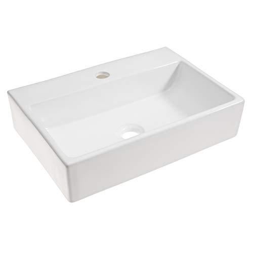 baliv Aufsatzwaschbecken WBA-7020 Keramik | Eckiges Waschbecken mit Hahnloch