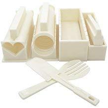 Uca® 10 Kit per preparare il Sushi DIY-Set da Chef per riso, la muffa, colore: bianco