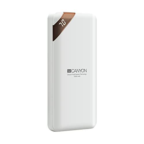Canyon PB-102 Powerbank 10000 mah Portatil - Batería Externa Cargador con 2 Puertos Input DC 5V/2A (Micro USB/USB-C) Compatible con Xiaomi, Samsung, iPhone, Airpods, Tablet, iPad - Blanco