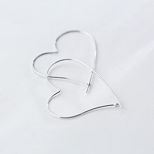 LOKILOKI Pendientes De Corazón De Encanto Simple De Moda 925 Pendientes De Aro Grandes Clásicos De Plata Esterlina para Mujer Joyería De Boda