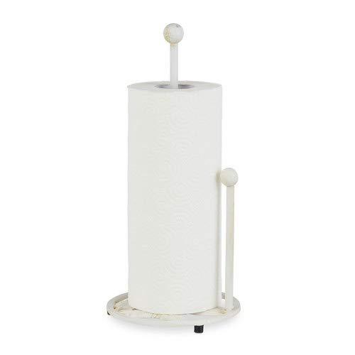 Relaxdays Küchenrollenhalter stehend, Gusseisen, Küchenpapierhalter Retro, Landhausstil, Shabby-Chic, Höhe: 33 cm, Weiß