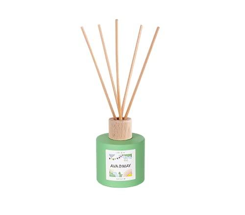 AVA & MAY Ibiza Duftstäbchen (100ml) – Handgemachter Raumduft Diffuser mit fruchtigem Duft nach Mandarine, Limette und Vanille – Duft mit Sommergefühl