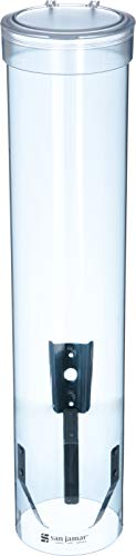 San Jamar C3165TBL C3165FBL Medium Pull Type Water Cup Dispenser, Fits 4 to 10 oz Cone and Flat Bottom Cups, 16' Tube Length, Transparent Blue