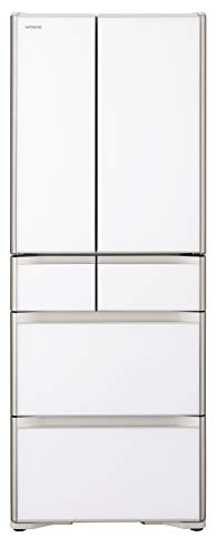 日立 冷蔵庫 555L 6ドア 強化ガラスドア 観音開き 日本製 幅68.5cm 真空チルド R-XG56J XW クリスタルホワイト