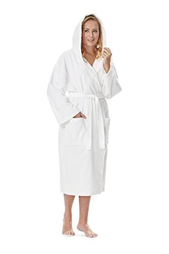 Arus Hooded Classic - Albornoz de baño, longitud de pantorrilla o largo para mujer con capucha, 100 % algodón de rizo blanco S-M