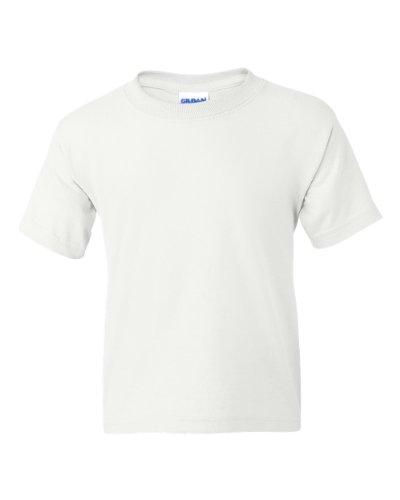 Gildan Big Boys' DryBlend Moisture-Wicking Taped-Neck T-Shirt, XL, WHITE