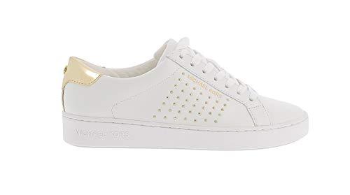 Michael Kors Irving - Zapatillas deportivas de piel con tachuelas doradas Blanco Size: 37 EU