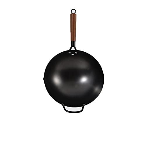 Lazxcnvbg sarten Wok, Olla de Cocina de la casa Antigua, sin Recubrimiento sin Palanca Antiadherente No Hay Humo aceitoso Sin óxido, aplicable a la Estufa de Gas, diámetro 30 cm
