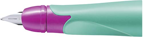 Rechtshänder-Griffstück für ergonomischen Schulfüller mit Standard-Feder M - STABILO EASYbirdy in türkis/neon pink