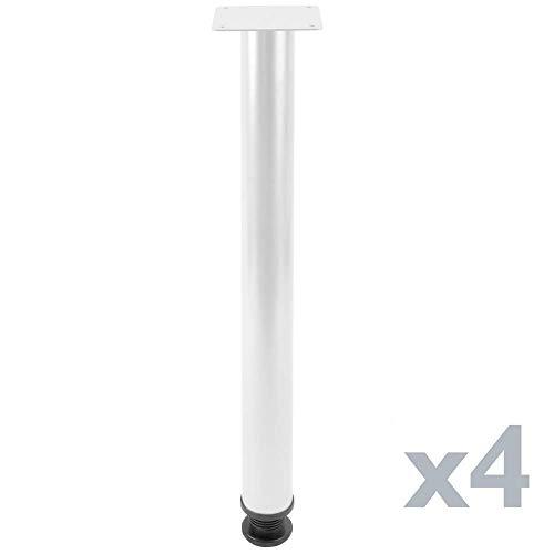 PrimeMatik - Ronde poten voor tafel en meubels. Witte stalen poten 72-75 cm 4-pack