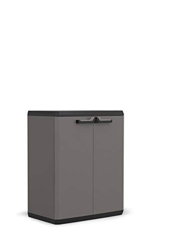 Keter Più Kunststoffschrank, hoch, anthrazit/schwarz, 68 x 39 x 90 cm