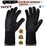 ARCTICA GRIPS Oven Frying Smoker Barbecue Grill BBQ Baking Cooking Grilling Gloves 932 F Extreme Heat Rated Cut Fire Resistant Glove Indoor Outdoor Extra Long Cuff Kitchen Mitts for Men Women 1pair