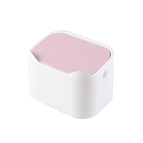 LACALA Cubo de Basura para Escritorio con Tapa Tipo Prensa, Mini Cubo de Basura para Escritorio portátil, Cama, Papelera para Oficina, Doble Capa por