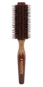 Spornette Etched Porcupine Small 2.25 inch Wood Handled Nylon & Boar Bristles Round Brush For Blow Drying EP-2 Styling, Curling and Smoothing. For Medium Hair Length