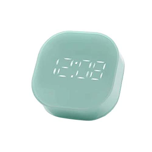 Huposdxjnz Despertador, Reloj de Alarma de Noche silencioso Cuadrado USB Decoración de Escritorio de Temperatura (Color : Green)