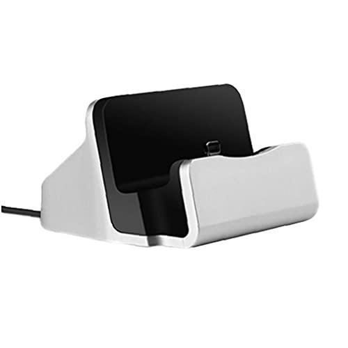 Muelle de telefonía Soporte de Carga Dock Dock Station Base de Carga Dock Compatible para iPhone X 8 7 6 Cable USB Synnc Cumerger Base de Cargador - Sliverdurable y Resistente a la Suciedad
