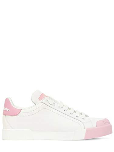 Dolce & Gabbana White/Pink Portofino Sneakers New/Authentic FW20 (Numeric_8_Point_5)