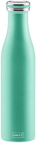 Lurch 240963 Isolierflasche / Thermoflasche für heiße und kalte Getränke aus doppelwandigem Edelstahl 0,75l, pearl green