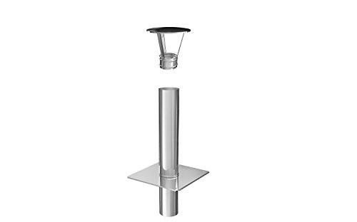 Schornsteinverlängerung Kaminverlängerung einwandig DN Ø 130 mm 0,5 m + Haube
