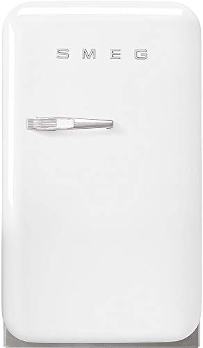 """Smeg FAB5URWH3 16"""" 50's Retro Style Series Compact Cooler with 1.5 cu. ft. Capacity Absorption Cooling Automatic Defrost LED Interior Lighting and Adjustable Shelves White, Right Hand Hinge"""