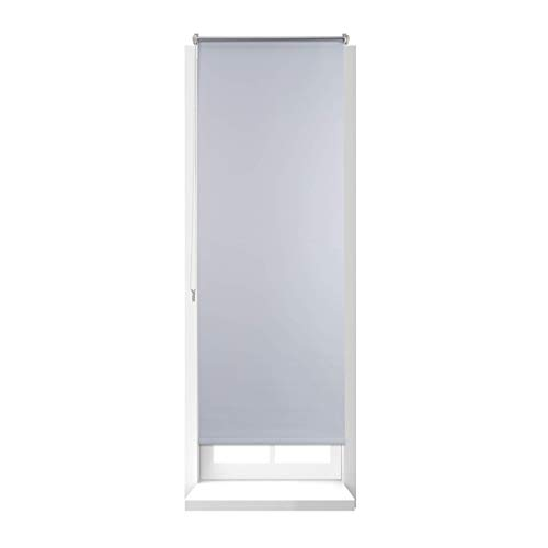 Relaxdays Estor Opaco Enrollable sin Taladrar, Ancho Tejido 56 cm, Tela-Aluminio, 60 x 160 cm, Blanco, 60 x 160