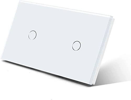 KFJZGZZ Interruptor de luz táctil Interruptores de luz doble Sensor táctil Interruptor de pared Vidrio 2Gang 1Way Interruptores oscuro Blacklight blanco negro oro 300 W/Gang Smart Light Switch