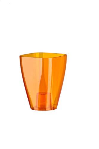 KADAX Blumentopf, schlanker Orchideentopf, Schlichter Pflanzkübel, Blumenkübel für Orchidee, Knabenkraut, Gänseblümchen, Übertopf für Küche und Wohnzimmer (⌀ 12cm, rund, Orange)