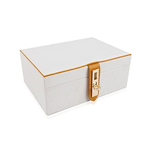 ROEWP Caja de Almacenamiento de Joyas de Doble Capa de Madera, Caja de Anillos de Pendientes de Estilo Europeo Simple, Gran Capacidad y partición razonable (Color : White)