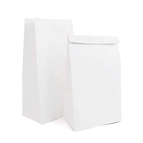 """Paper Lunch Bags, Kslong 50pcs White Paper Bags 6Lb 6.1x3.9x11.8"""" Durable Kraft Bags Grocery Bag Bakery Bread Sandwich Bag Shopping Party Favor Gift Wrapping Bags Bulk(White 8)"""