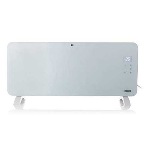 Princess Glass Smart Panel Heater, 2000 W, White, Smart Control and Free App, Works with Alexa